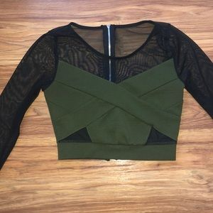Green and black mesh crop top